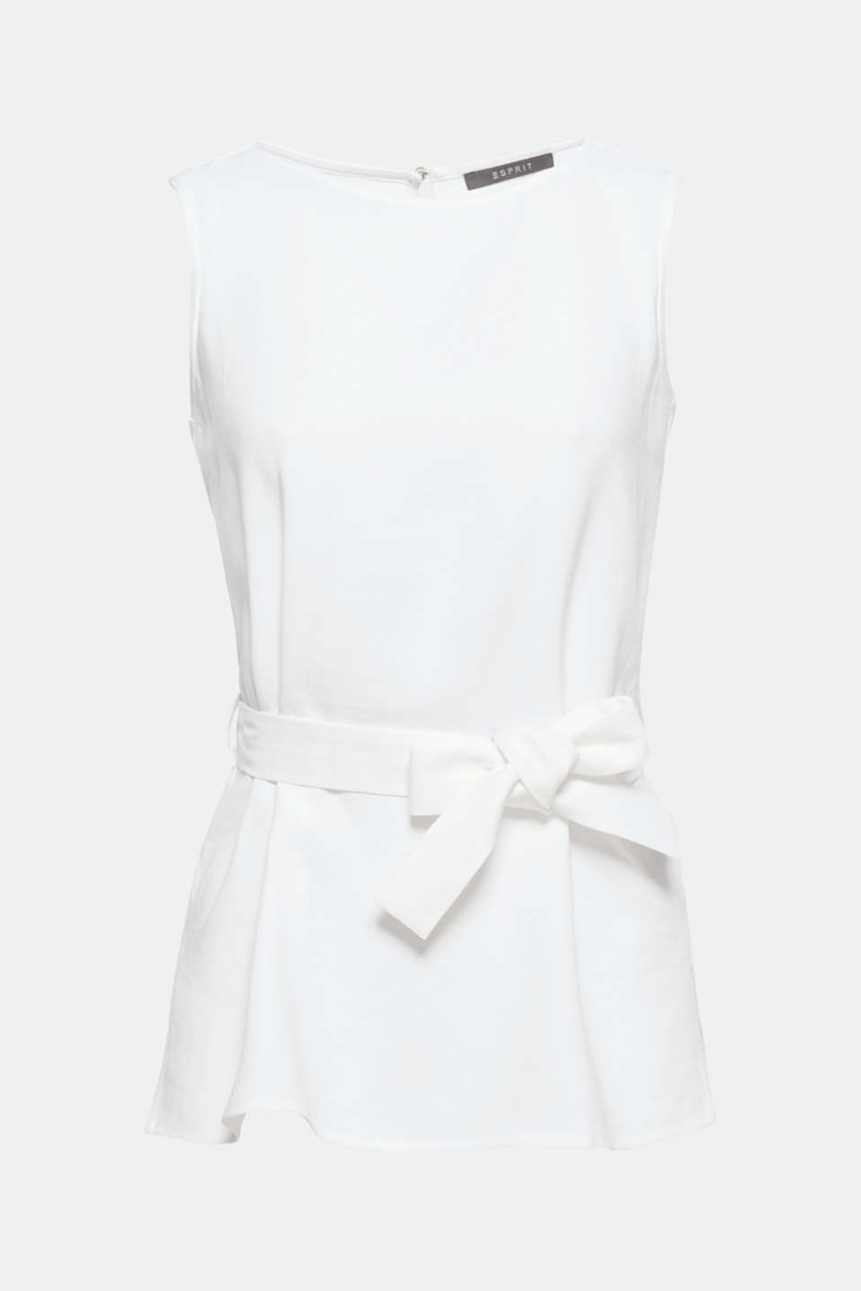 Casually tied: a belt nips this lightweight, woven top loosely yet femininely into the waist!
