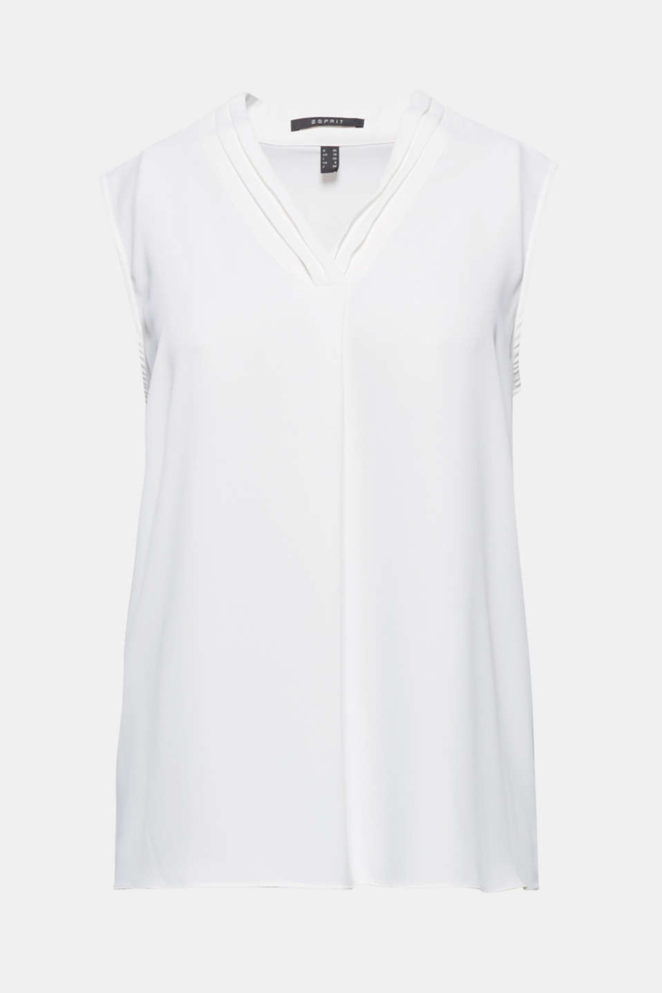 This blouse top with narrow pintucks on the feminine V-neckline is versatile, timelessly modern and feather light.
