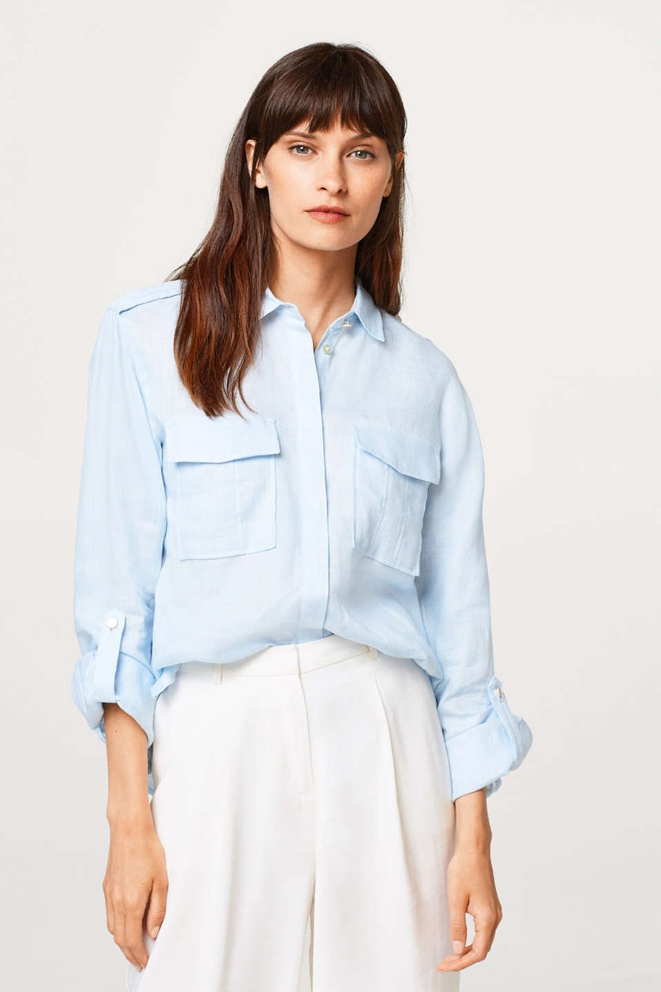 Esprit - 100% linen: shirt with turn-up sleeves