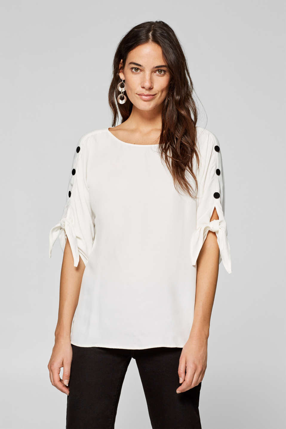 Esprit - Blouse with bow sleeves and buttons