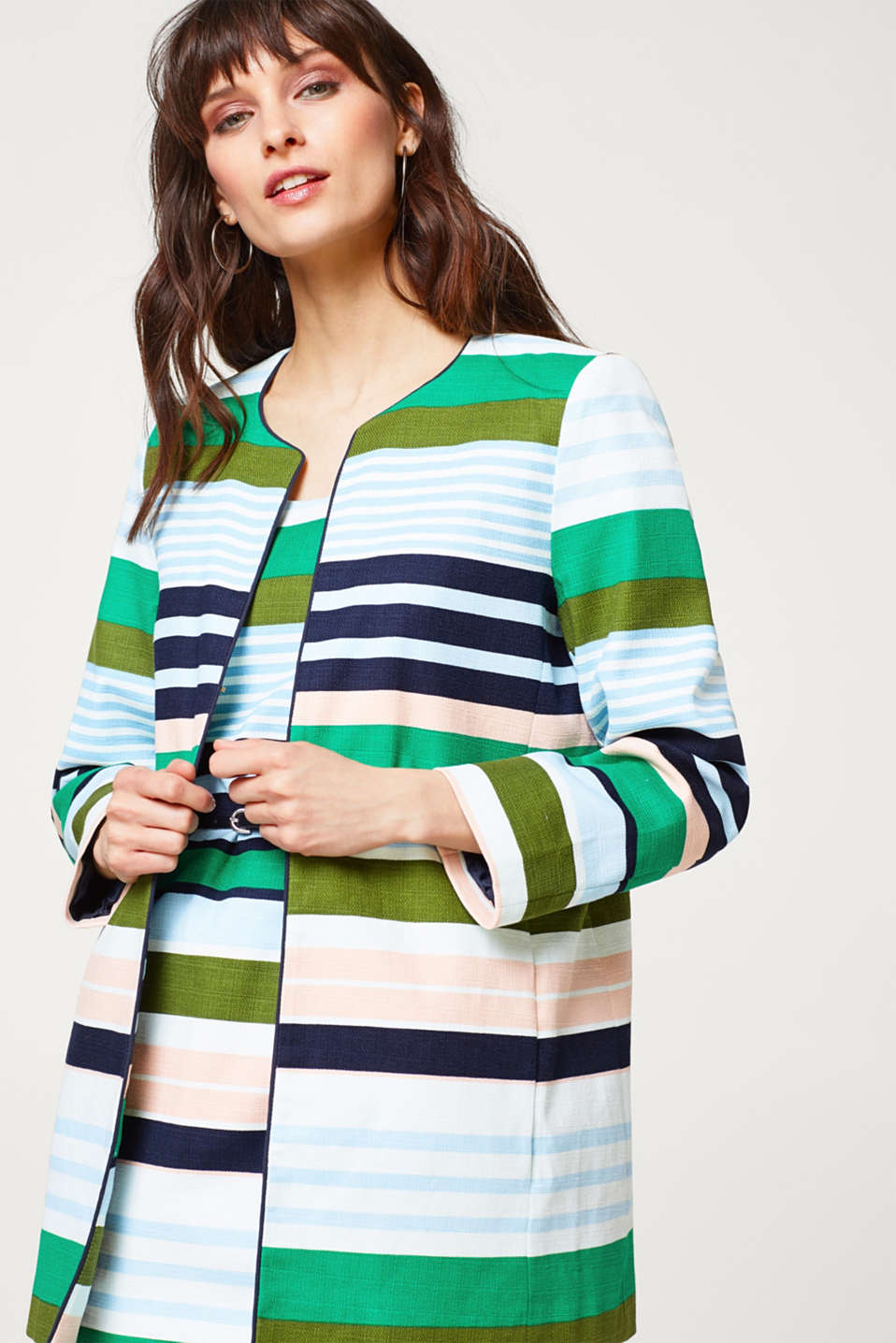 Esprit - Coat made of textured cotton in a striped look