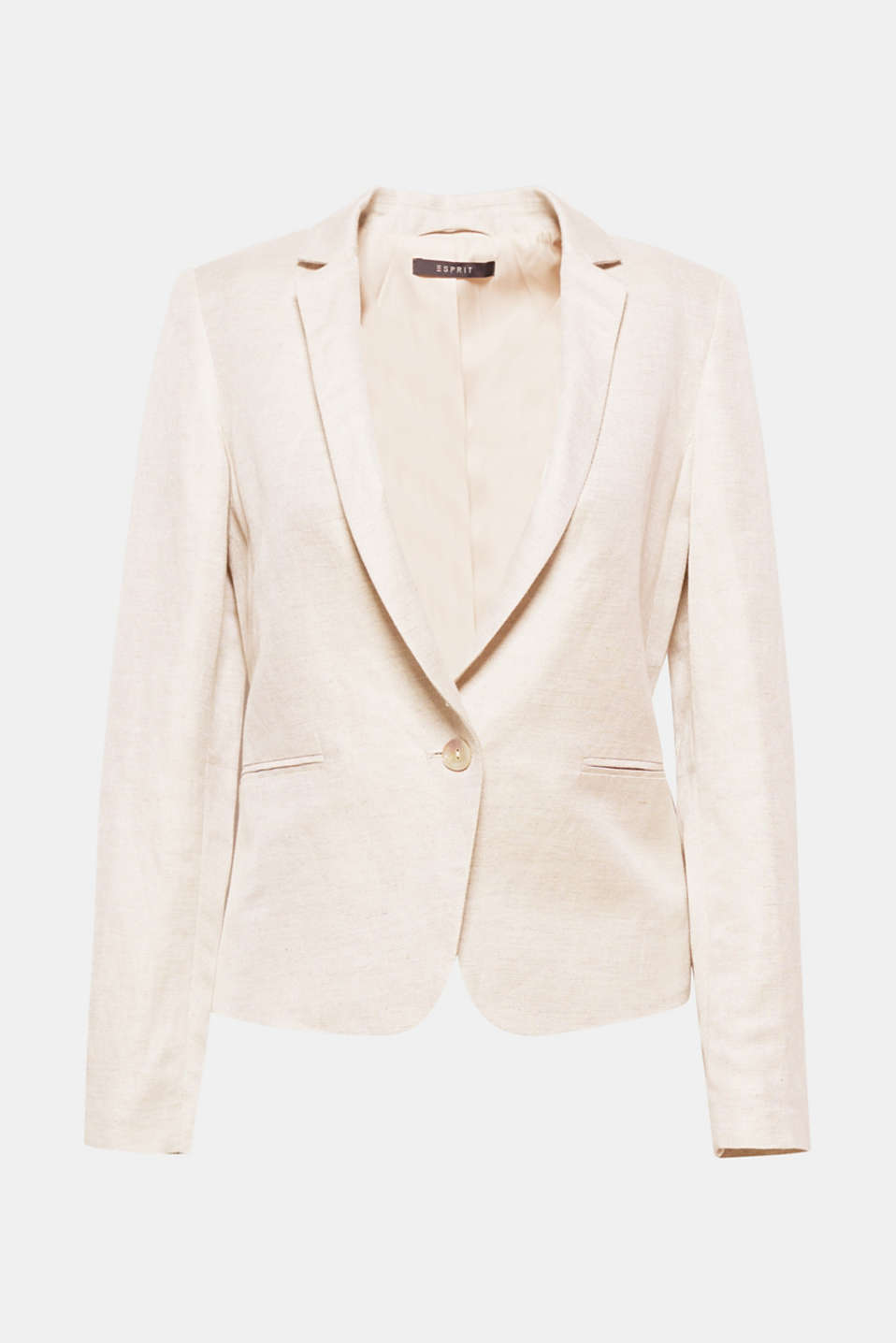 This fitted 1-button piece in blended linen is the perfect summer blazer with business chic!