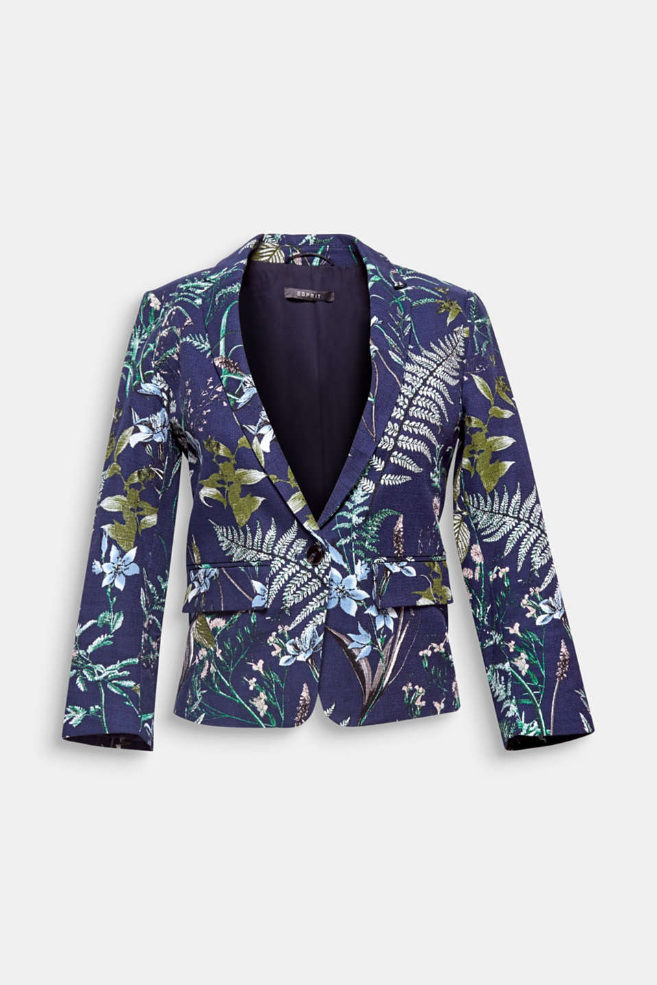 A fashionable highlight for your summer wardrobe: cropped blazer made of textured cotton with a botanical print and stretch for comfort.