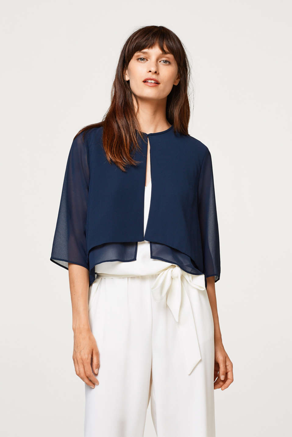 Esprit - Chiffon bolero in a layered look