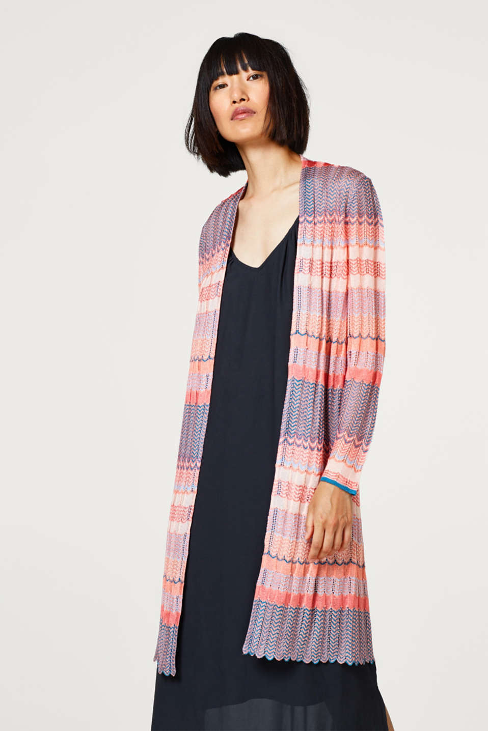 Esprit - Openwork cardigan with a colourful zigzag pattern