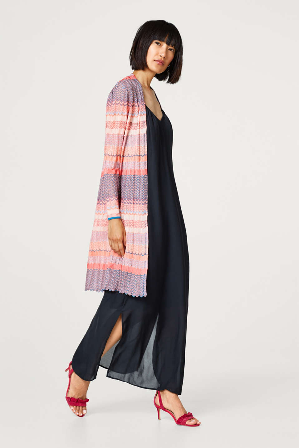 Openwork cardigan with a colourful zigzag pattern
