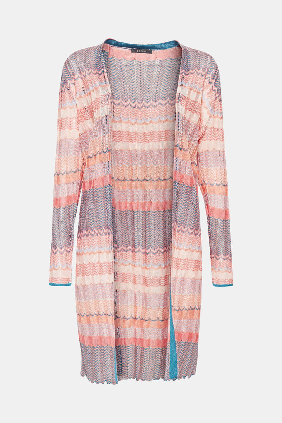 Summery designer chic: This open, softly flowing cardigan in airy openwork knit fabric with a colourful zigzag pattern is an especially decorative eye-catcher!