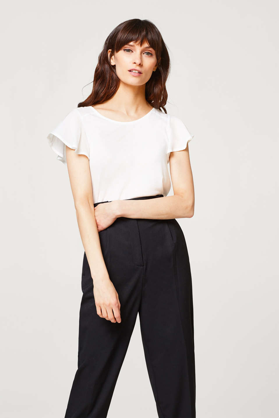 Esprit - Lightweight frill and fabric detail tee