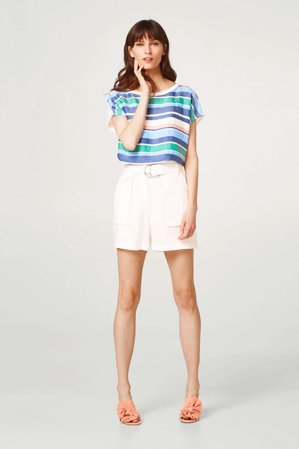 Top with shiny stripes in a material mix
