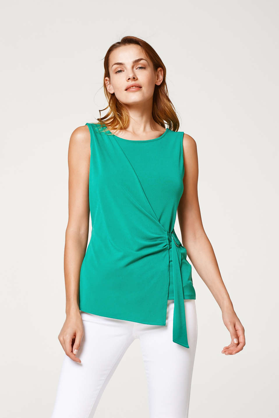 Esprit - Crêpe blouse top in a feminine wrap-over look