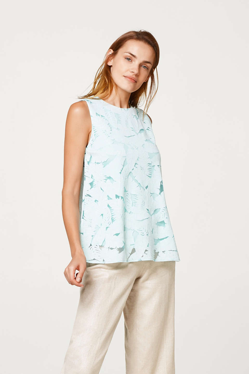 Esprit - Blousetop met burnt-out bladerprint