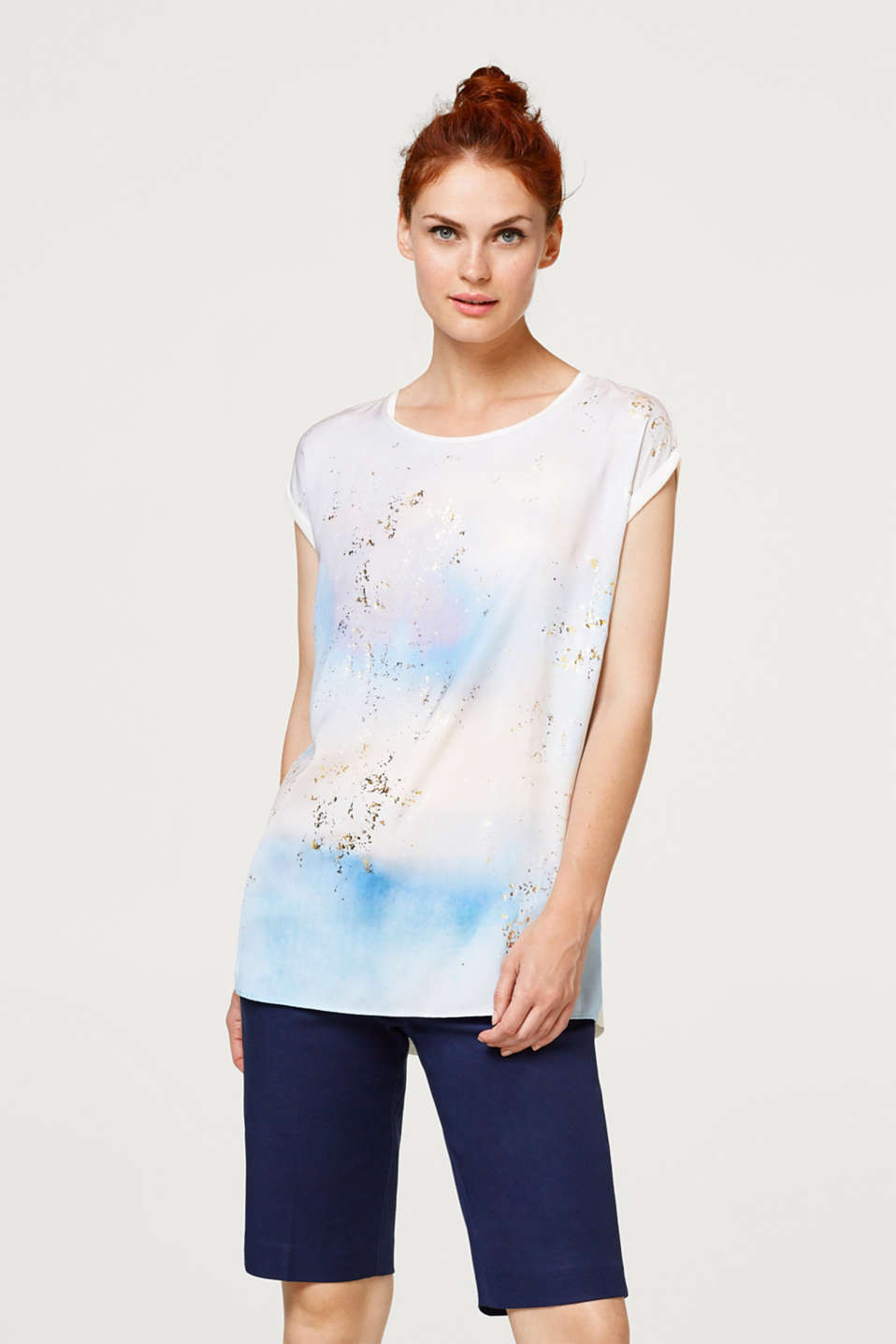 Esprit - Blouse with colour gradation and golden speckles