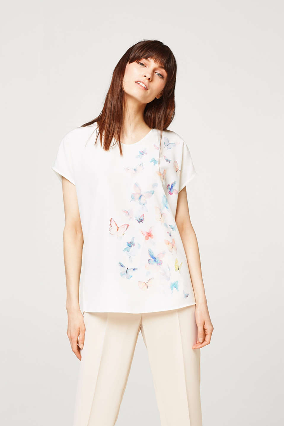 Esprit - Printed blouse in a lightweight material mix