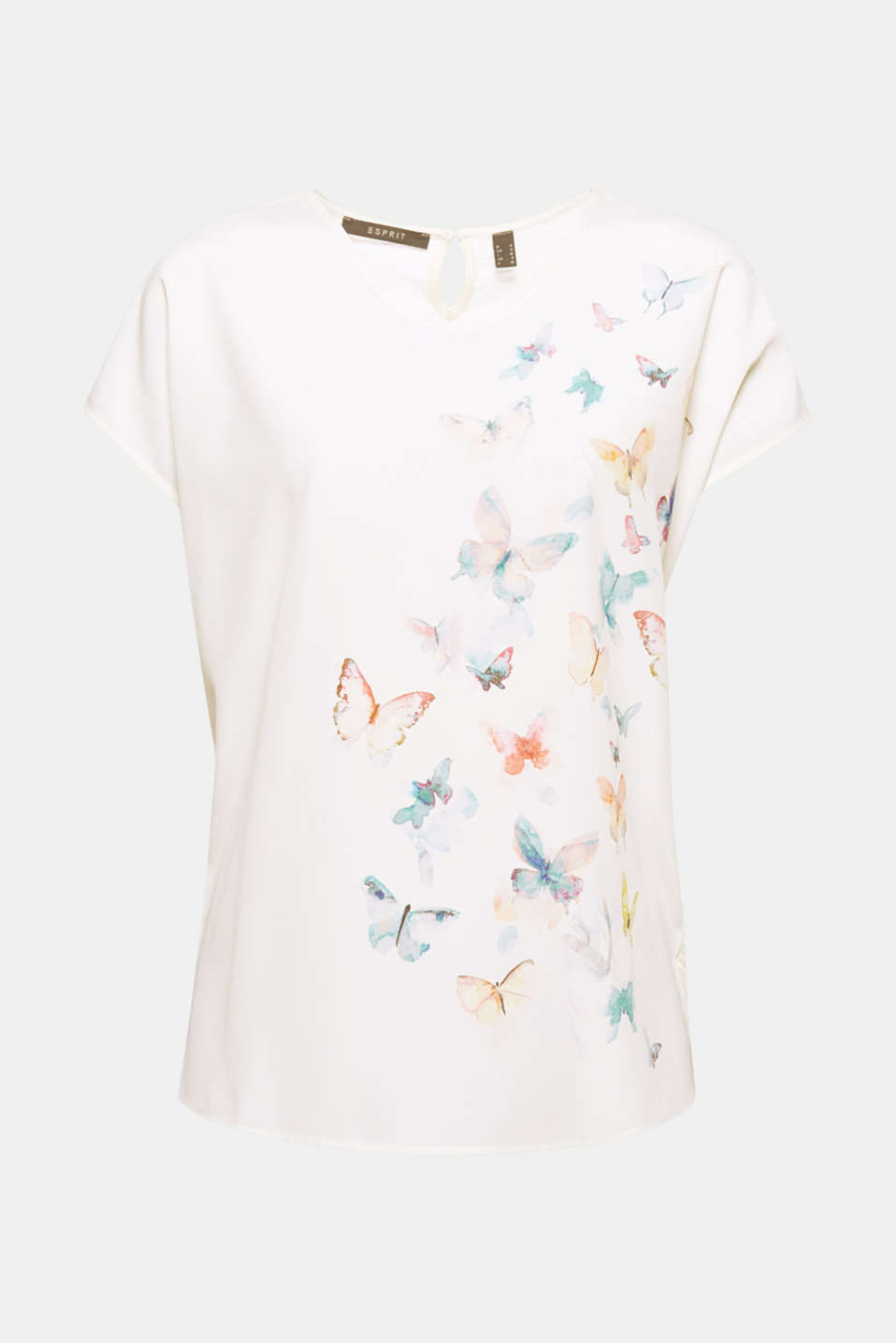 Enjoy the light and airy feel of this blouse in a flowing material mix! The striking butterfly print in a colourful watercolour look accentuates the airy styling!