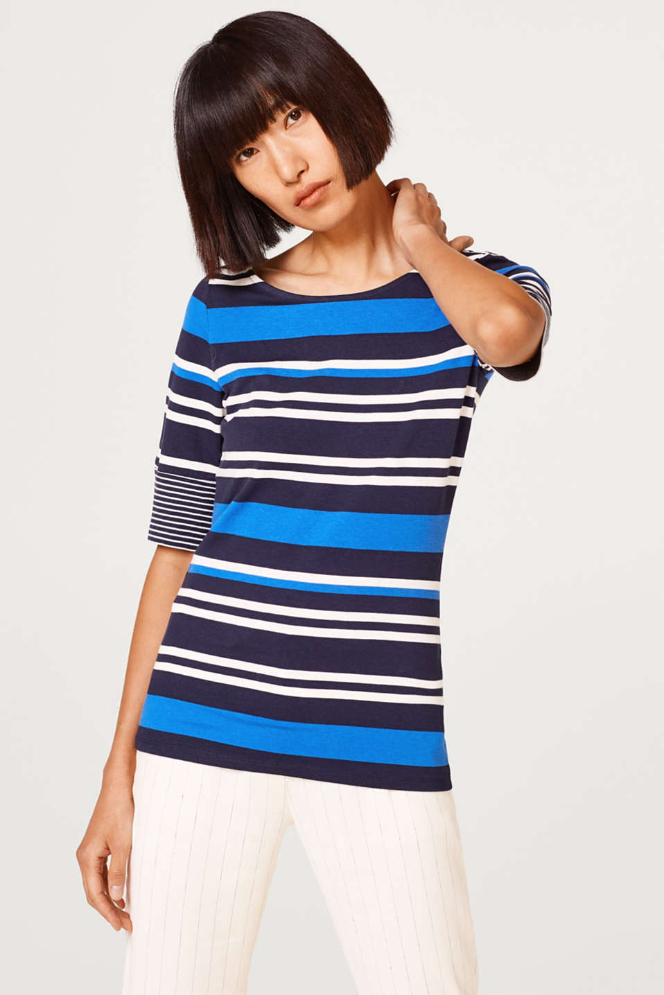 Esprit - Stretch T-shirt with a stripe mix