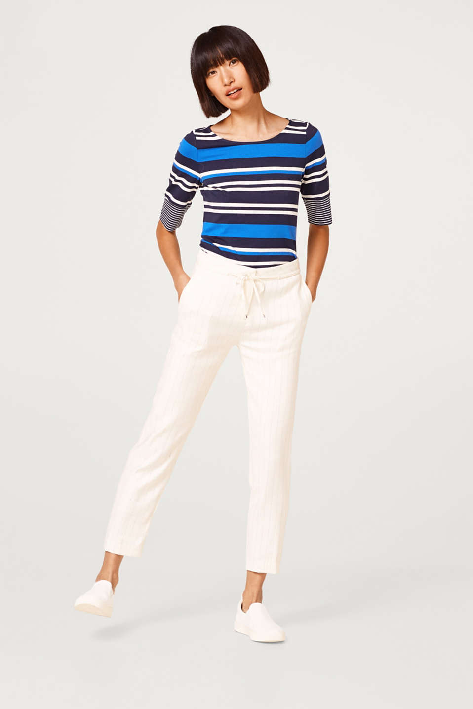 Stretch T-shirt with a stripe mix
