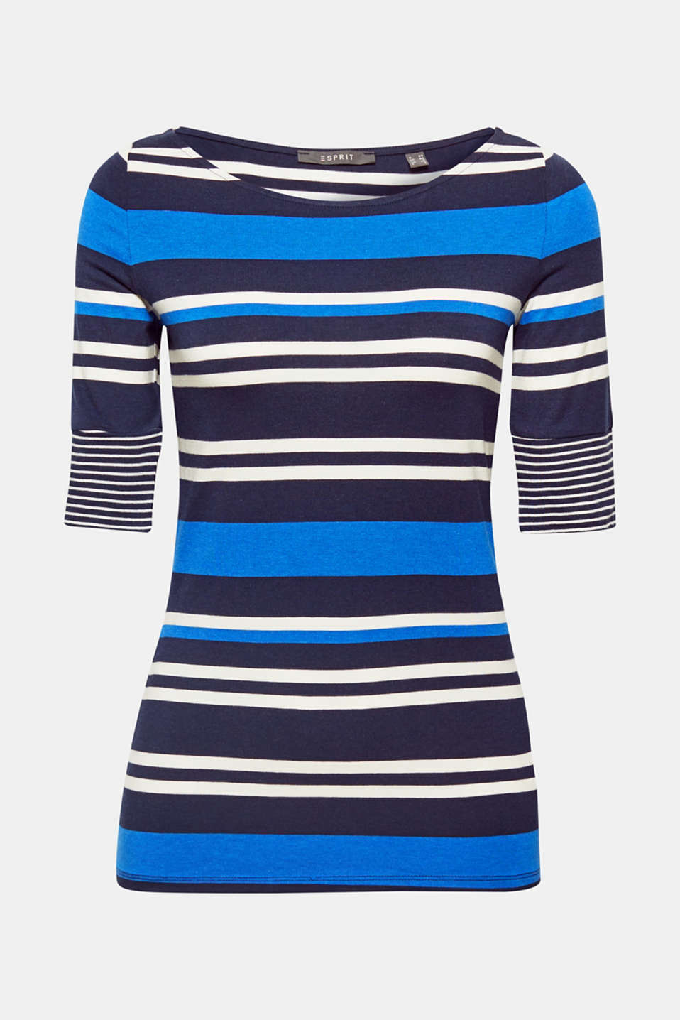 New striped look: In this slim-fitting stretch T-shirt, the stripes in different widths create a modern look and effectively enhance your figure!