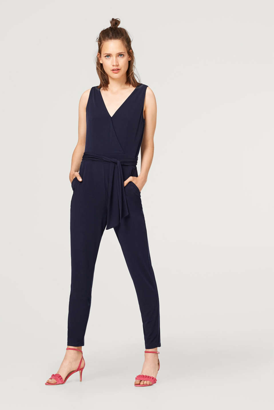 Esprit - Stretch jersey jumpsuit with a lace back