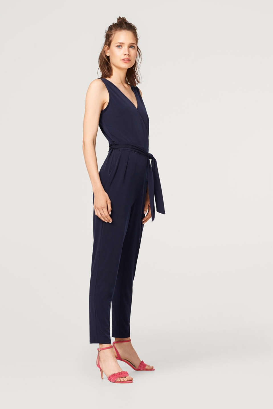 Stretch jersey jumpsuit with a lace back