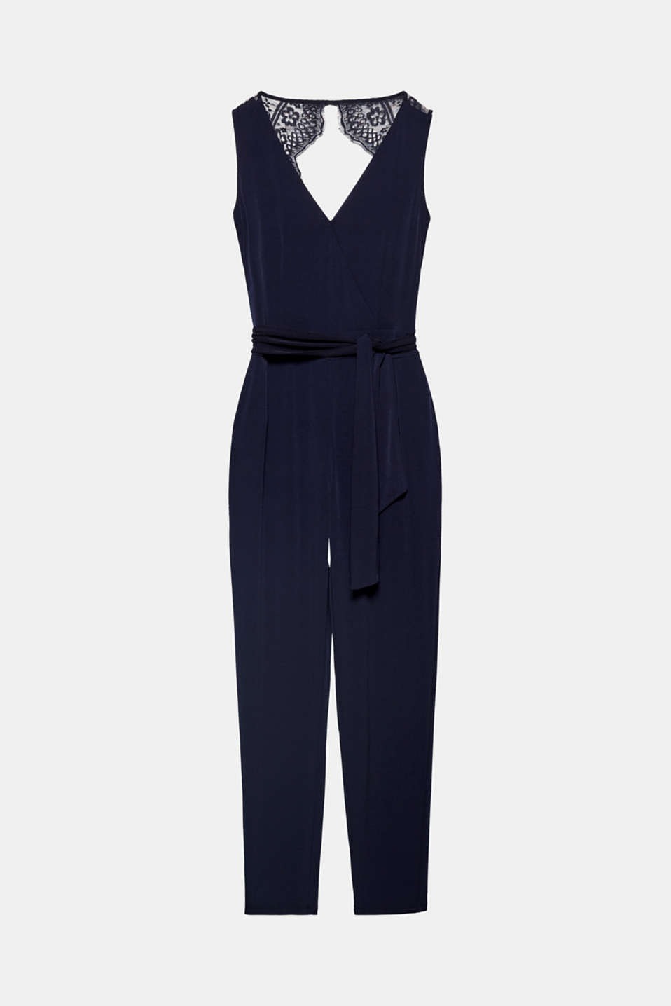 Elegance combined with a comfortable top – this jumpsuit in softly draped stretch jersey has a fixed wrap-over effect, a lace back and a tie-around belt!