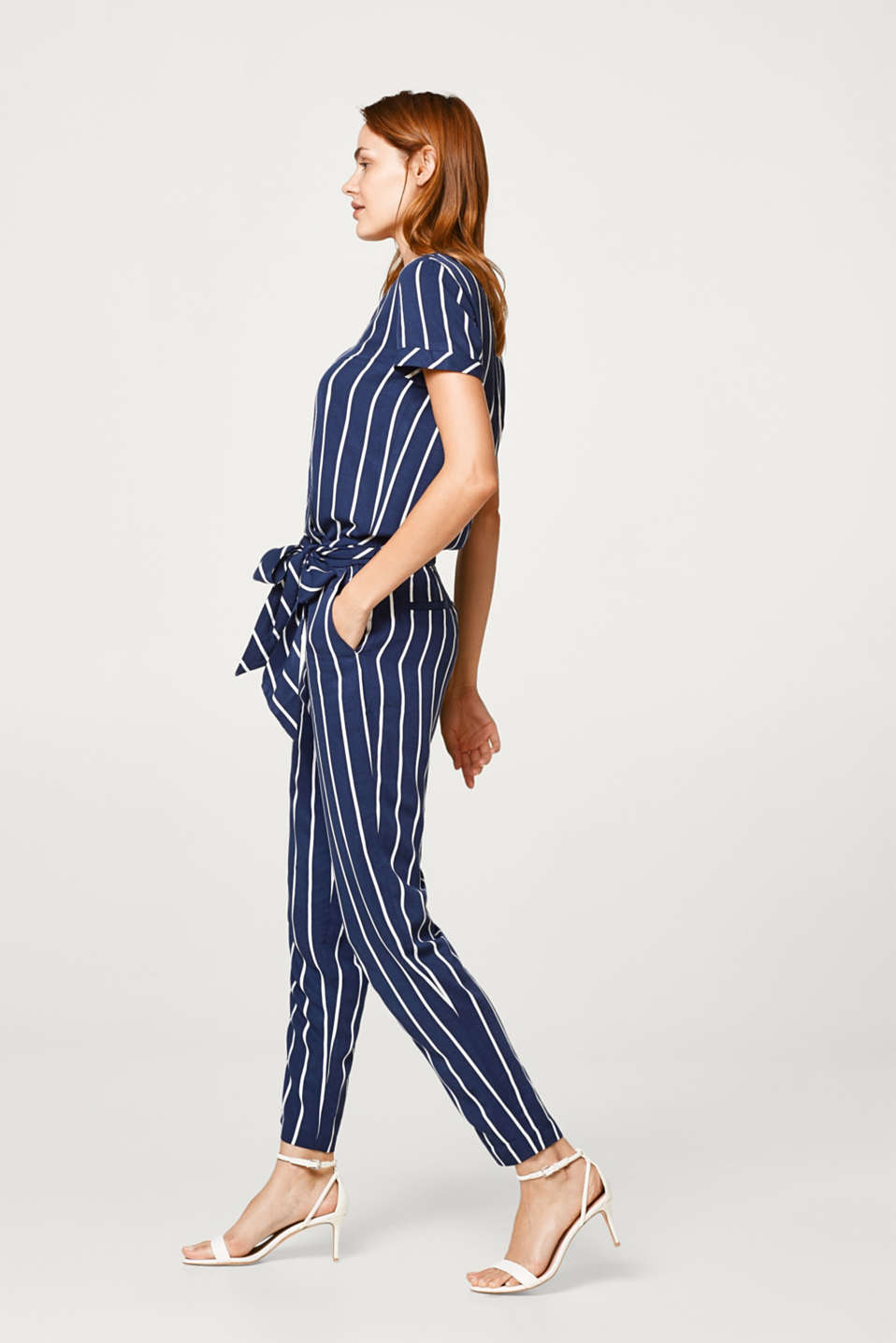 Esprit - Striped, wrap-over effect jumpsuit in woven fabric