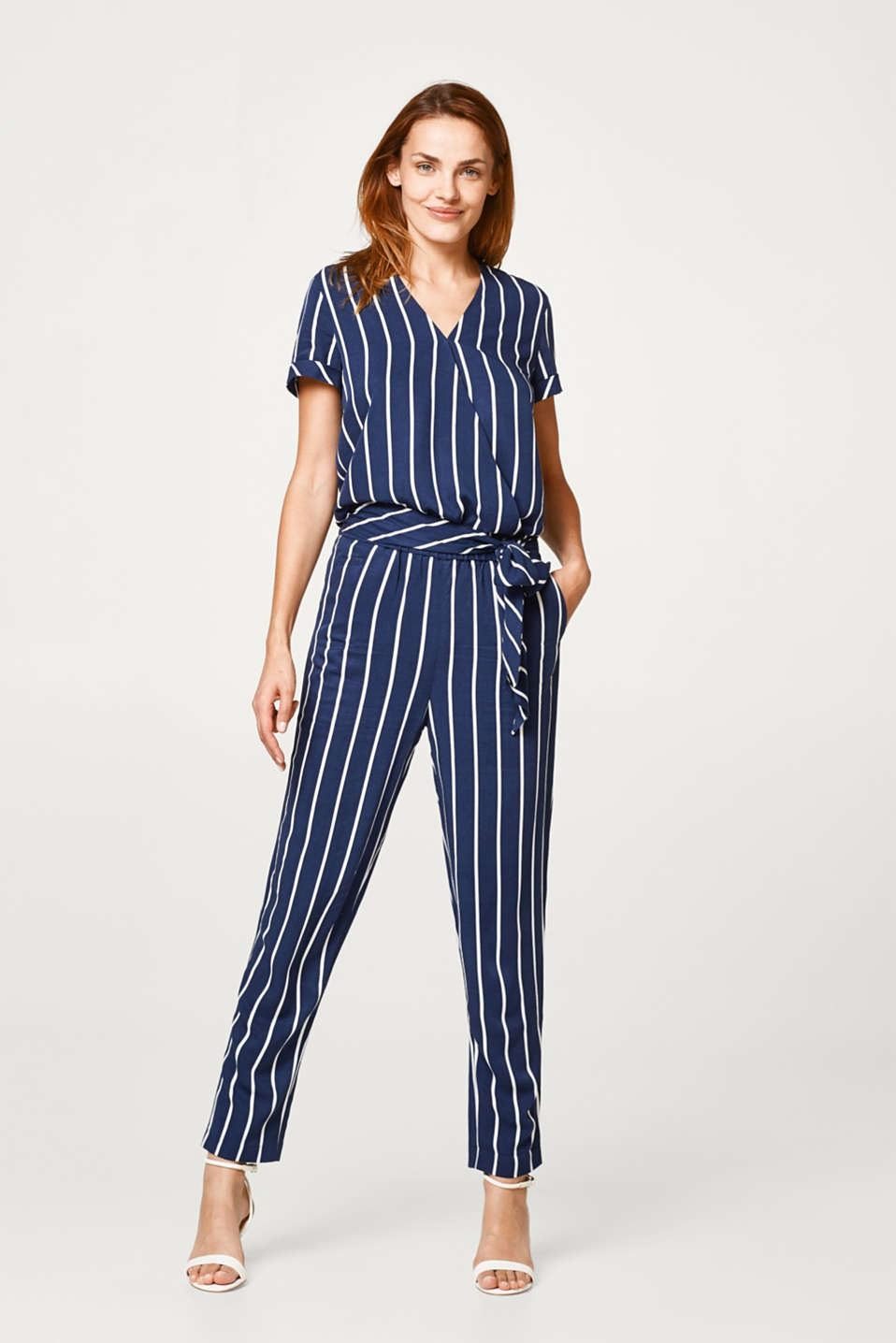Striped, wrap-over effect jumpsuit in woven fabric