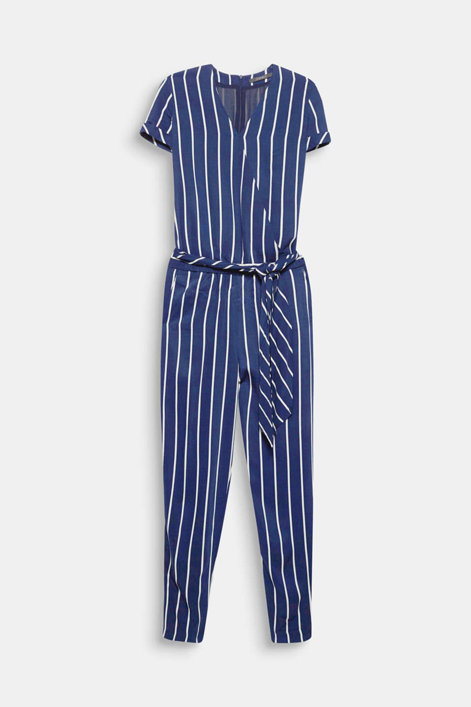 Can be styled to look casual or chic: this fashionably striped jumpsuit made of light, flowing fabric with a wrap-over effect and tie-around belt!