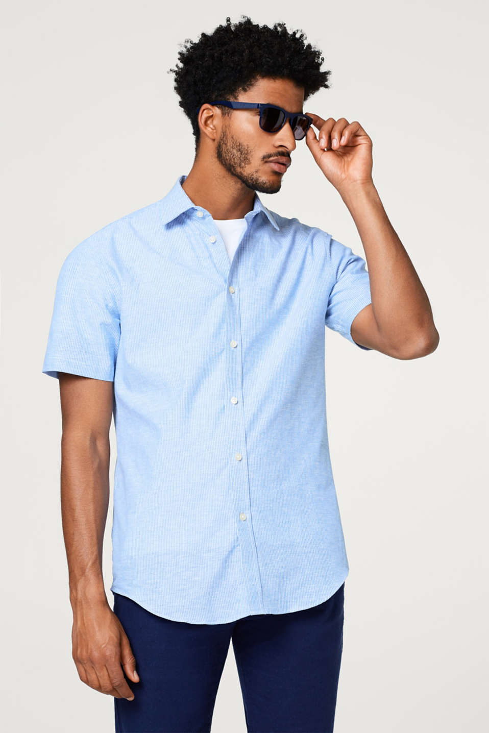 Esprit - Striped, short sleeve shirt made of blended linen
