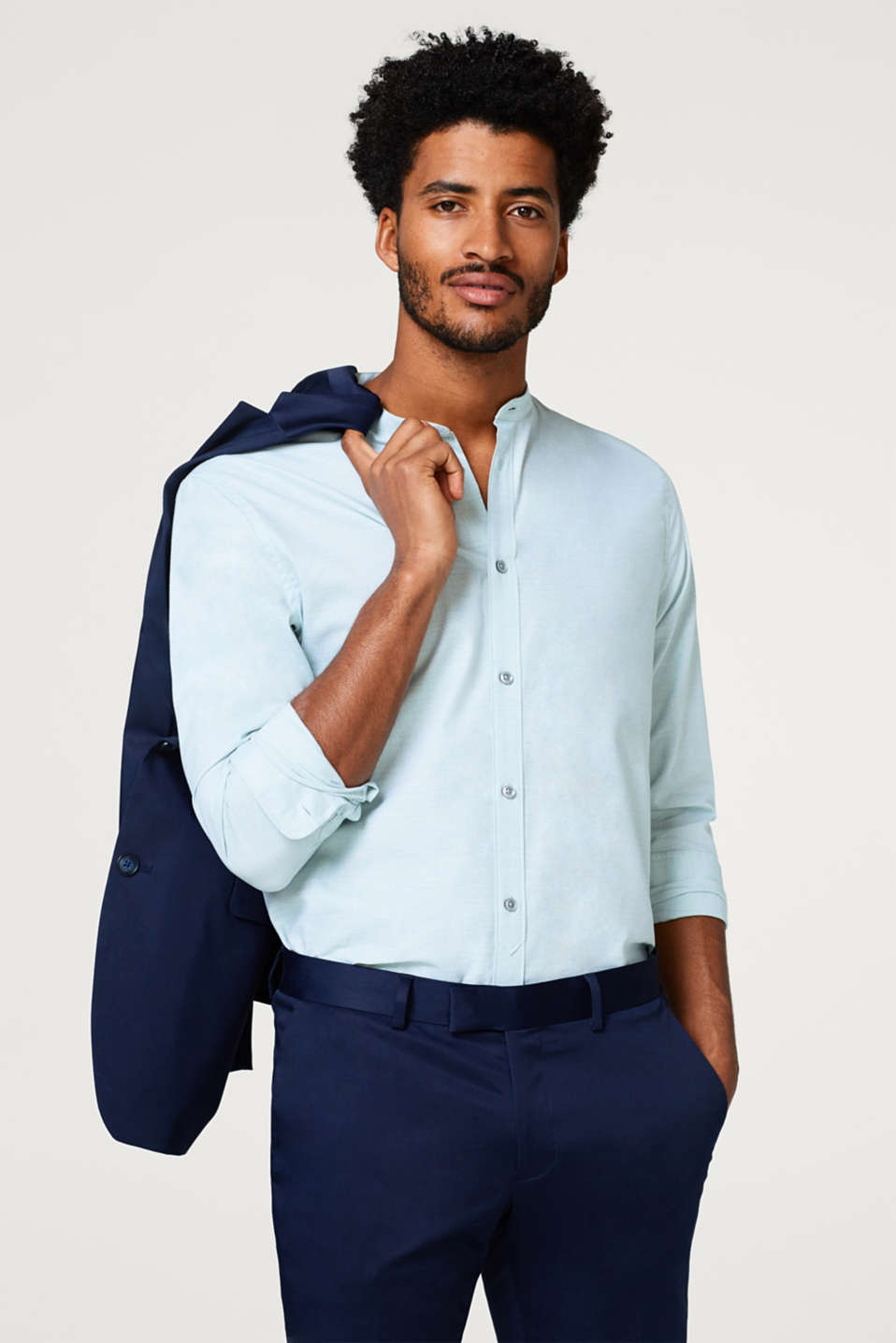 Esprit - Easy-iron shirt with a stand-up collar