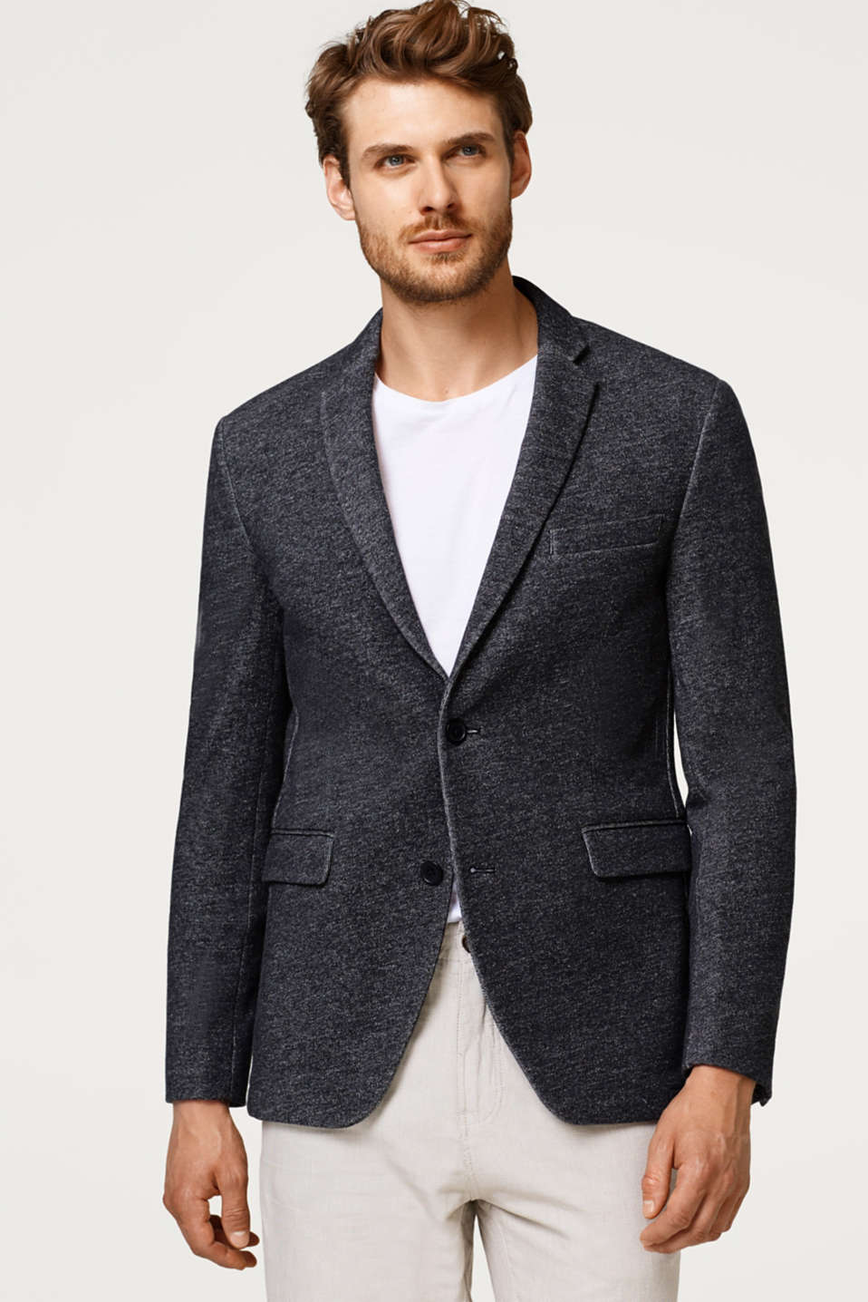 Esprit - Mens blazer made of melange sweatshirt fabric, 100% cotton