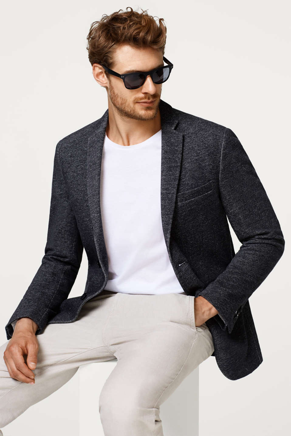 Mens blazer made of melange sweatshirt fabric, 100% cotton