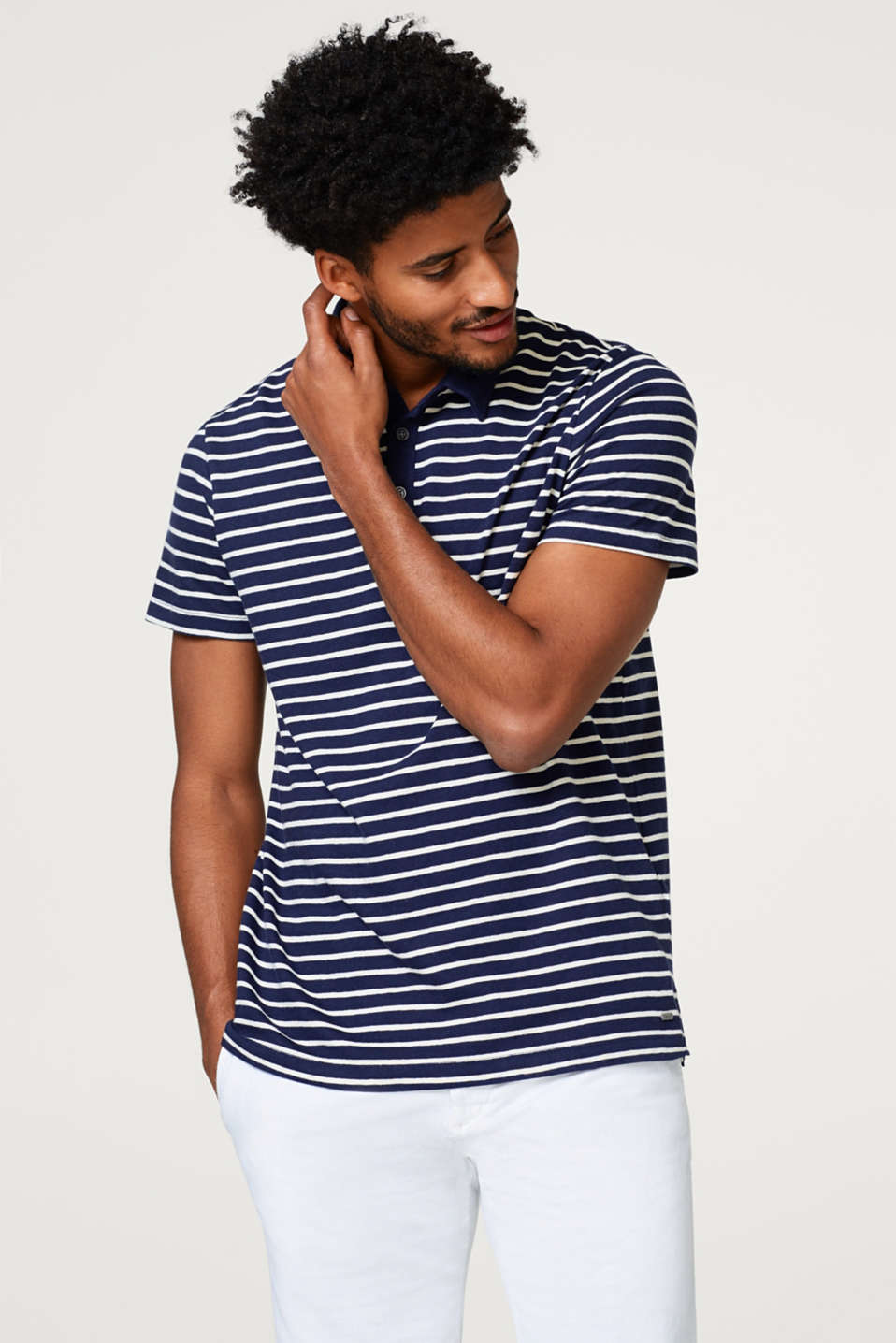 Esprit - Linen blend: straight striped polo shirt