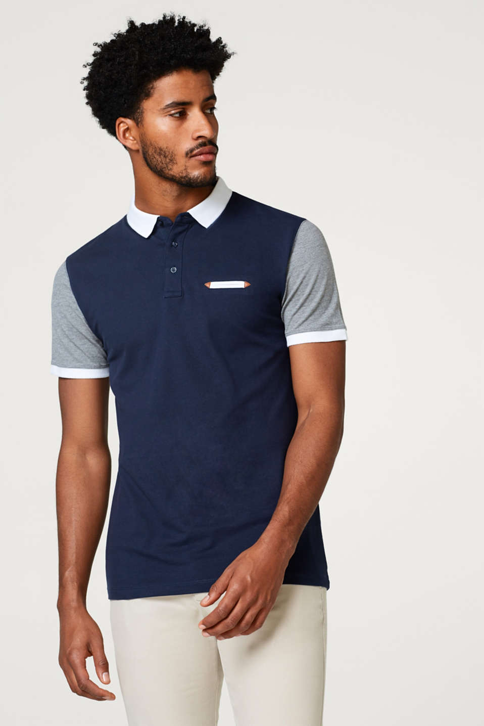Esprit - Fitted polo shirt in a multi-coloured look