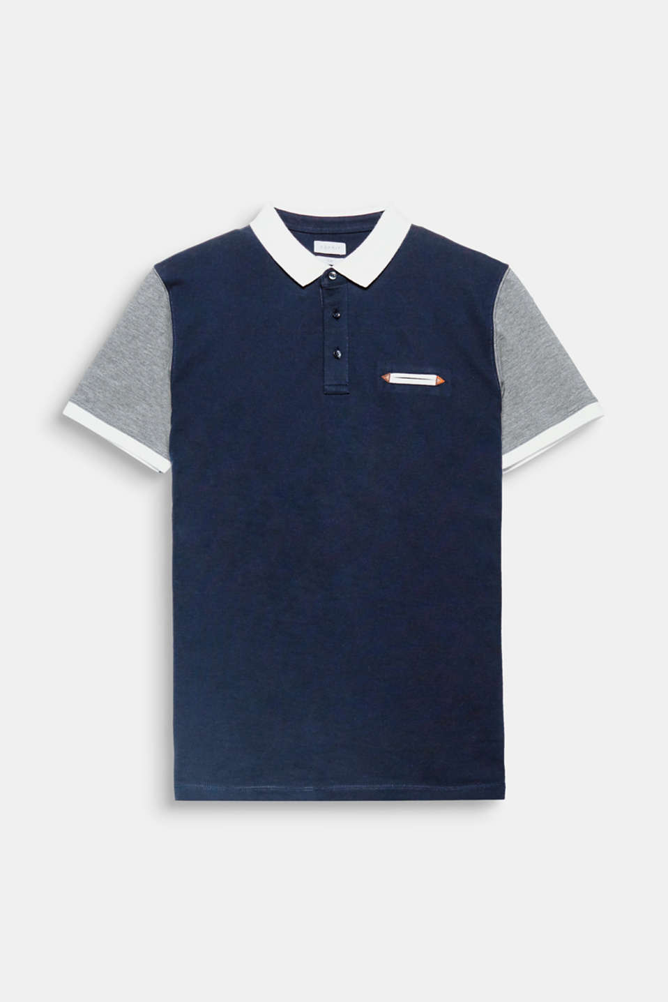 Multiple contrasting coloured sections give this piqué polo shirt a modern and sporty look.