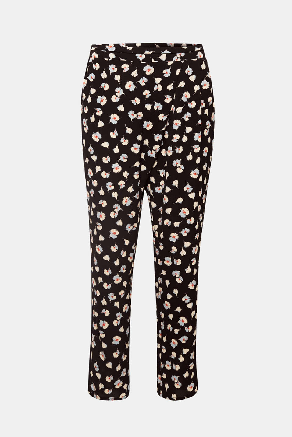 These flowing, draped tracksuit bottoms exude casual chic and enchant us with their romantic floral print and elegant crêpe fabric.