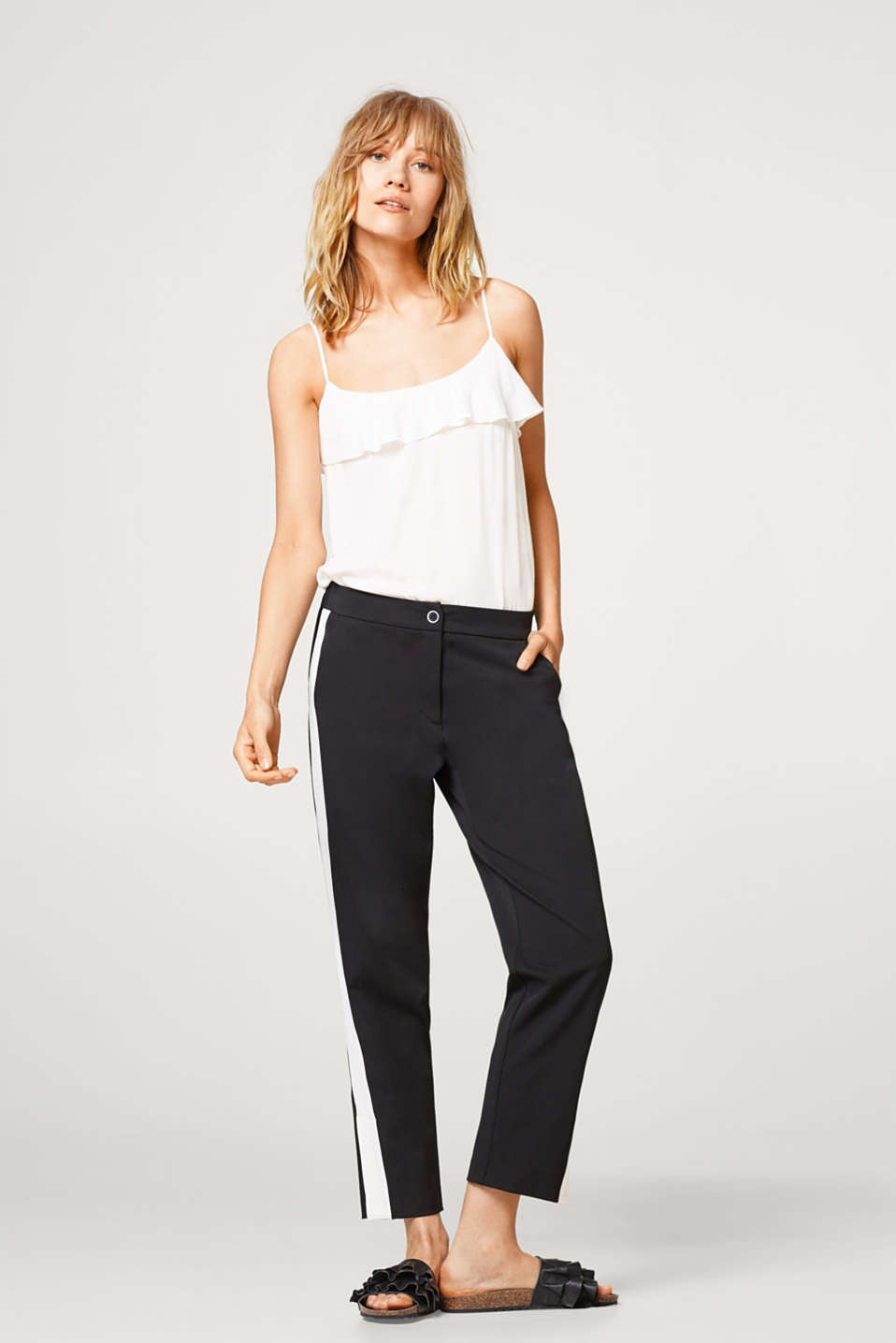 Cropped stretch trousers with tuxedo stripes