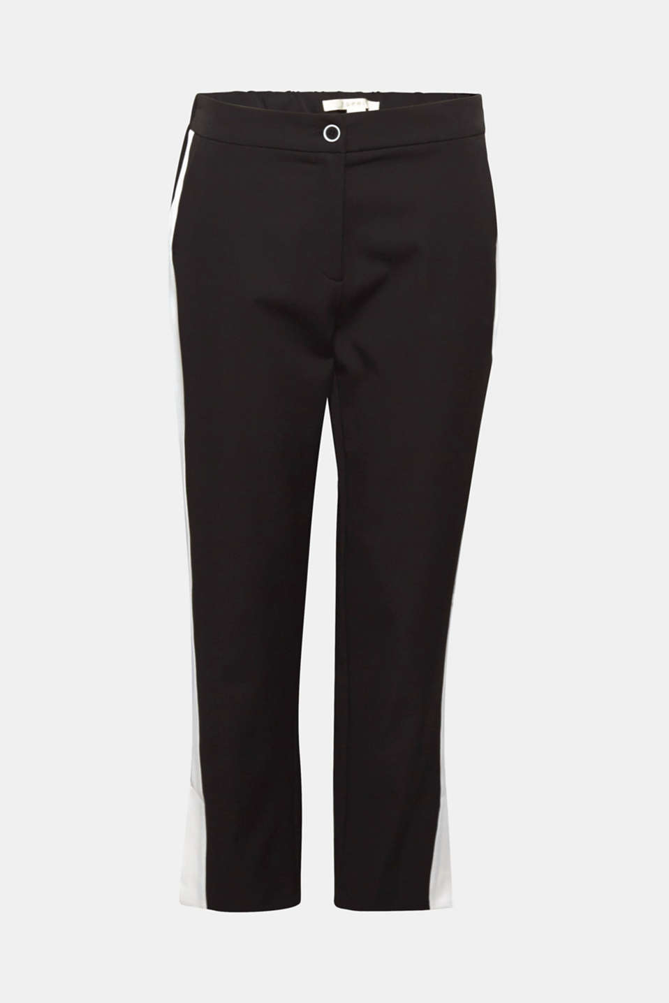 You will be fully on trend with these stretch trousers, which impress with the tuxedo stripes in a contrasting colour and cropped leg length.