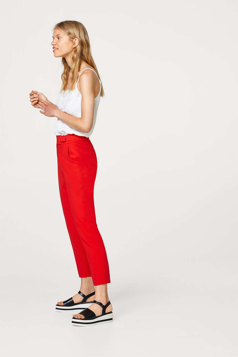 Cropped pressed pleat trousers with strap