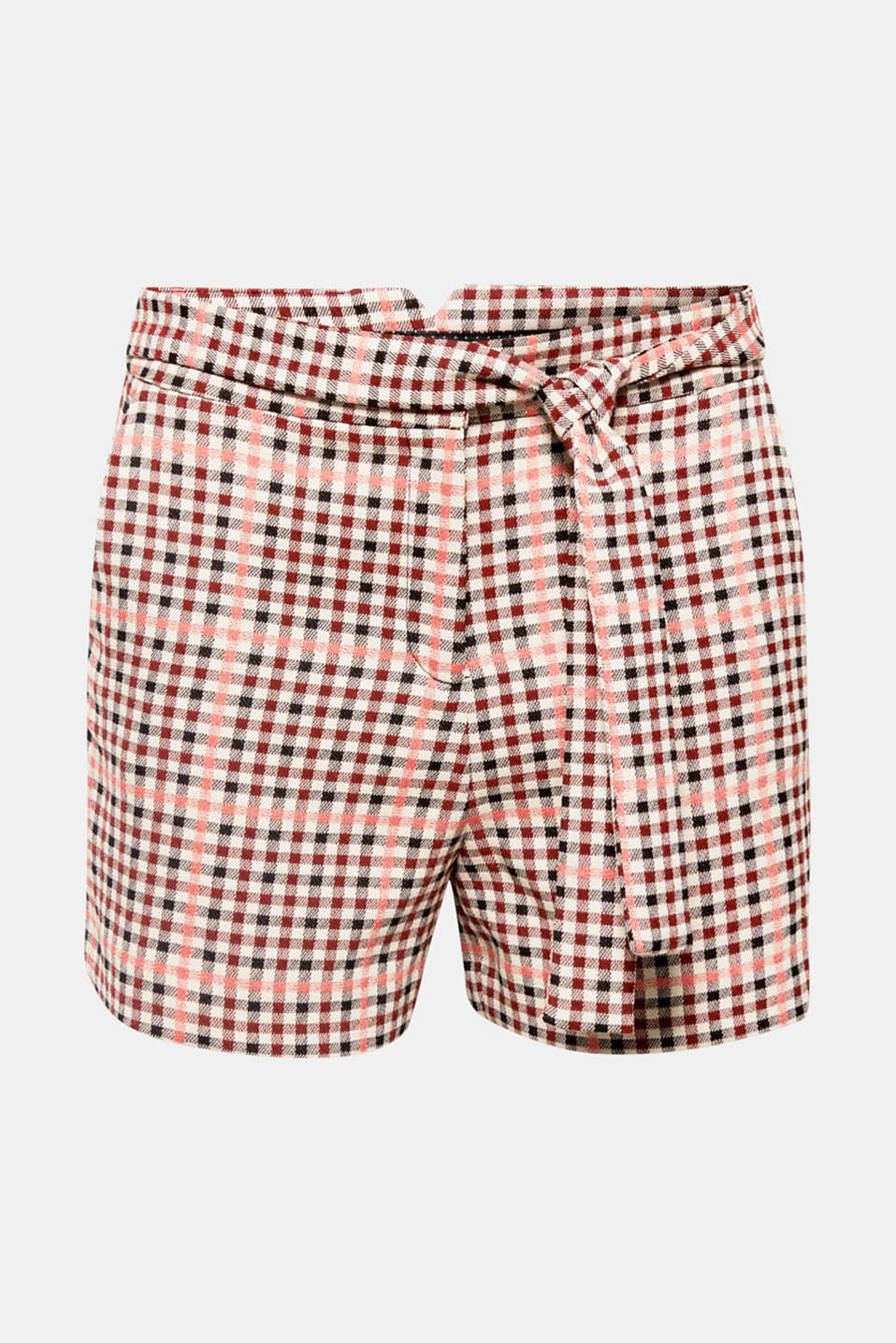 Made from lightly textured fabric with a percentage of stretch, with a fixed tie-around belt and small checks in a new colour palette that give these shorts their cheeky, trendy look!
