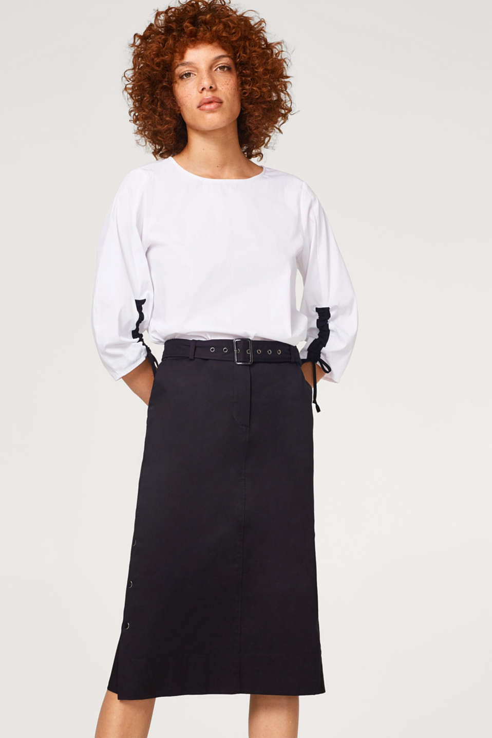 Esprit - Stretch cotton midi skirt with a belt