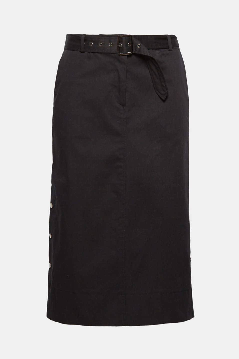 The metal press-stud plackets on the sides give this comfy, stretch cotton midi skirt a trendy twist.