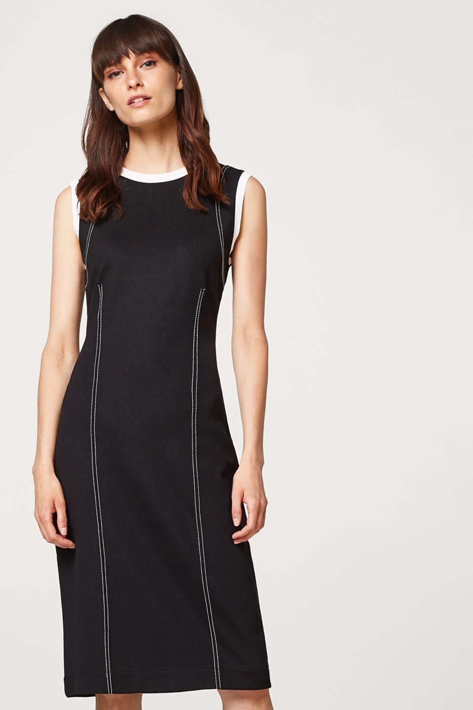Esprit - Shift dress in stretch jersey with contrast details