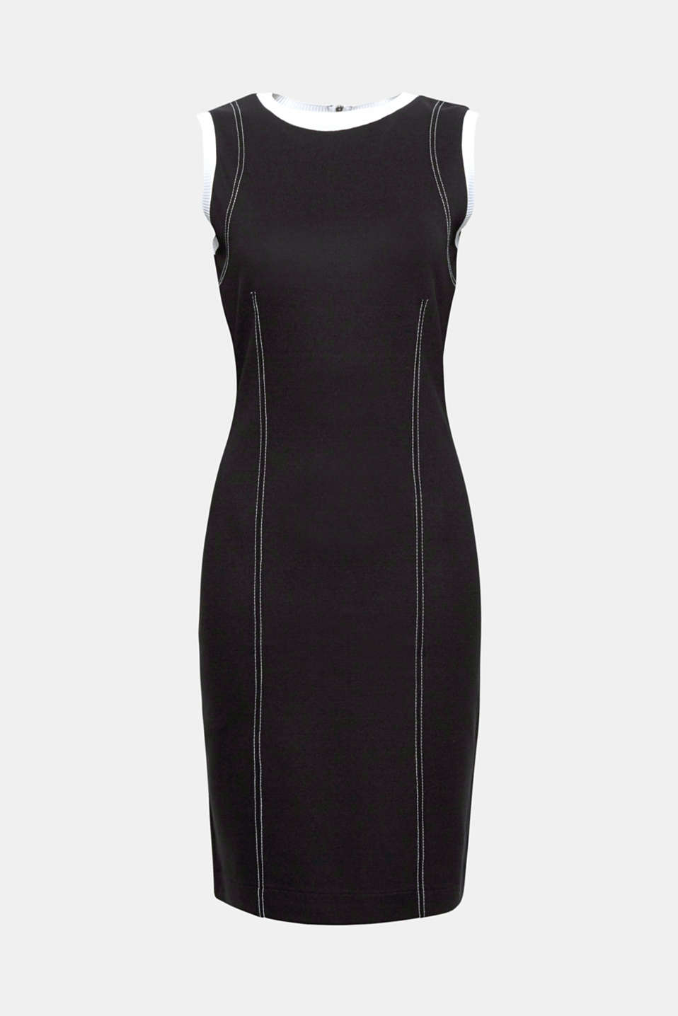 Can be worn to the office or evening events: Bodycon stretch dress with accentuating contrast details