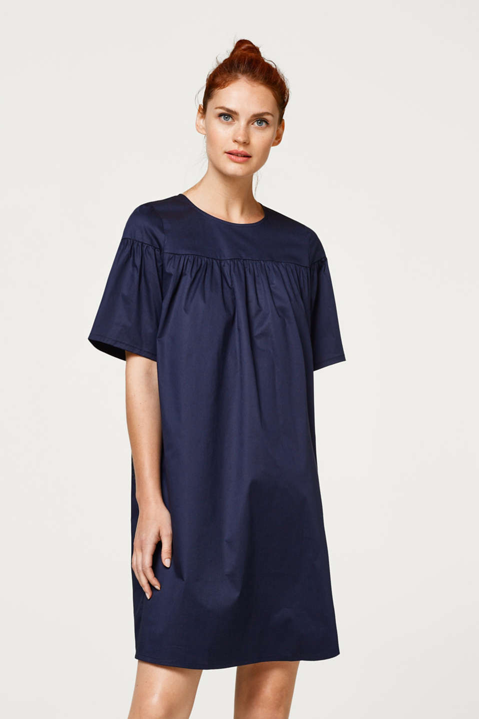 Esprit - Dress in a wide A-line design, made of stretch cotton