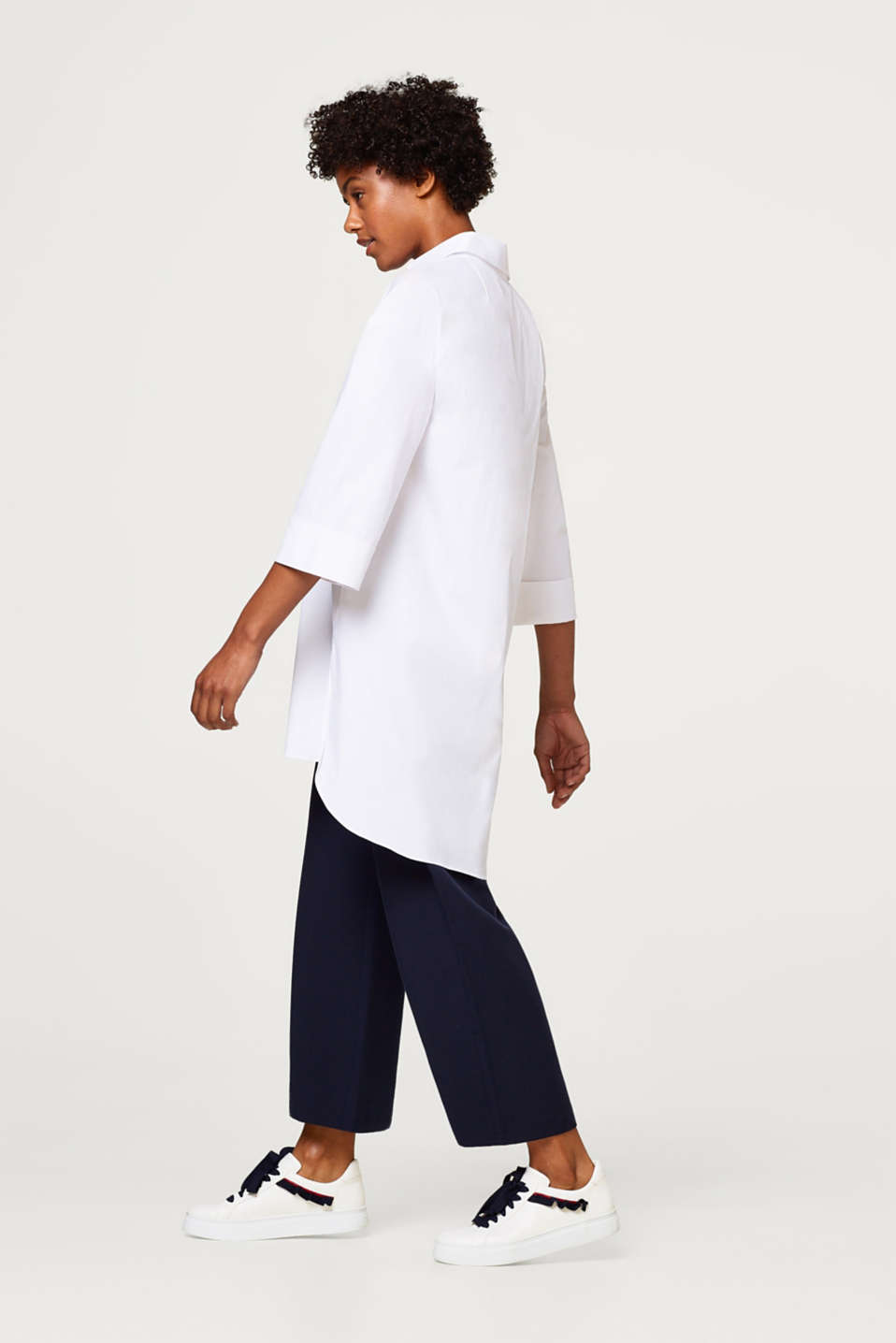 Long oversized blouse in a shirt style