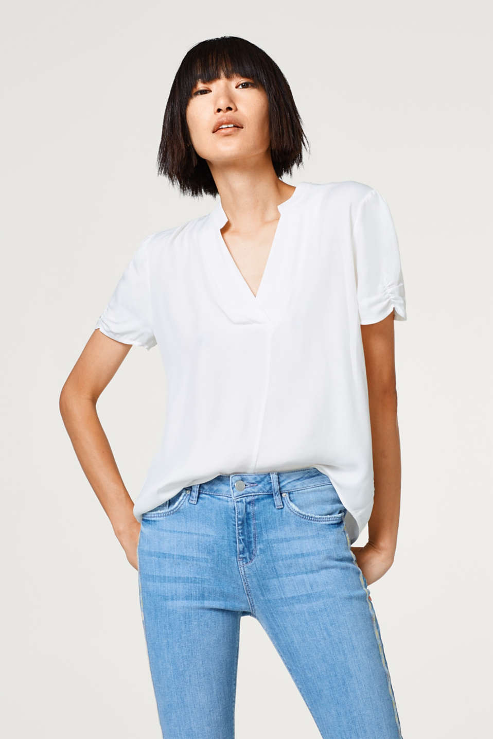 Esprit - Blouse top with a Henley neckline
