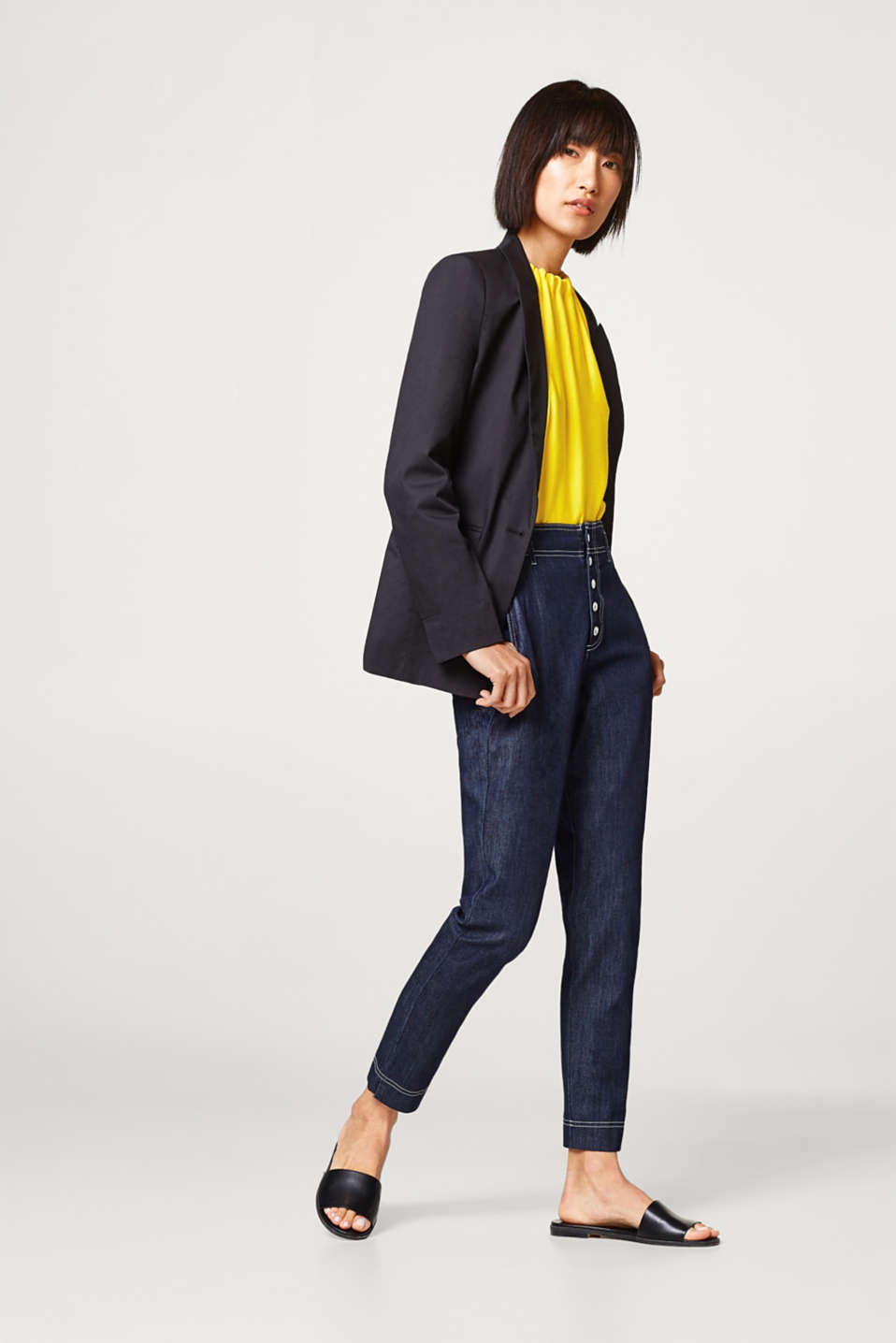 Straight-fit one-button blazer in cotton- stretch