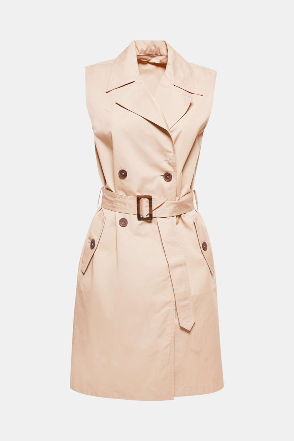 Looks just as good with a blouse as it does with jeans and a T-shirt: long, sleeveless waistcoat with details in an elegant trench coat style.