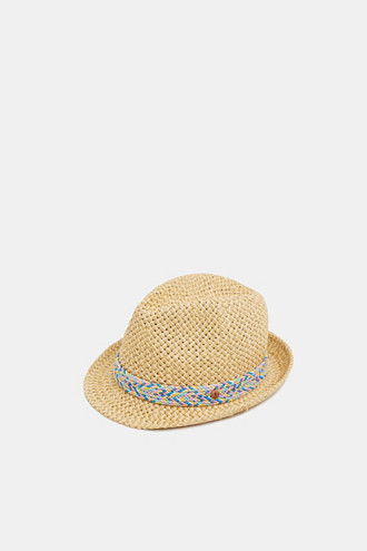 Straw hat with a decorative ribbon