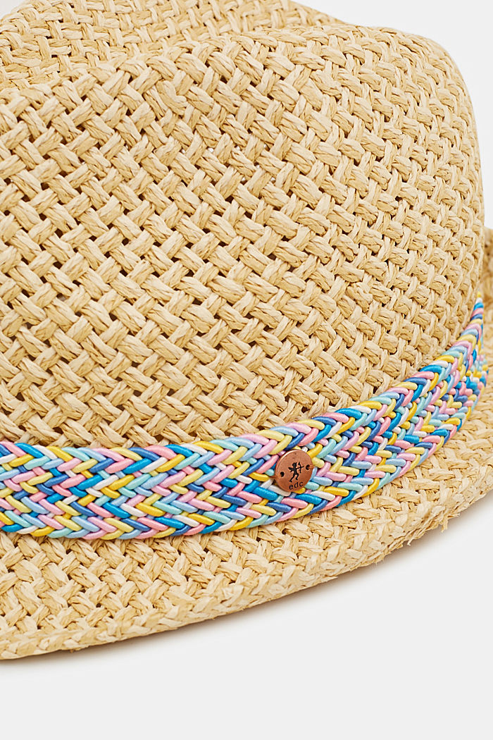Straw hat with a decorative ribbon, SAND, detail image number 1